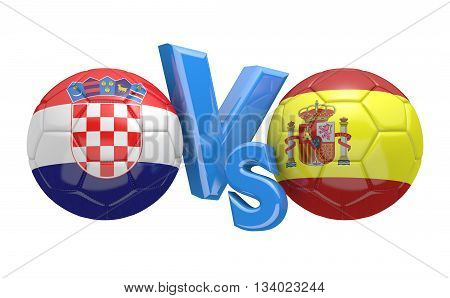 Football competition between national teams Croatia vs Spain, 3D rendering