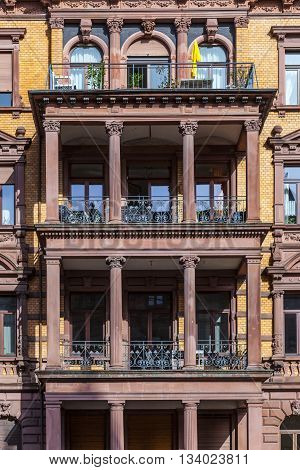 facade of loft apartments in old classicistiy houses in Wiesbaden