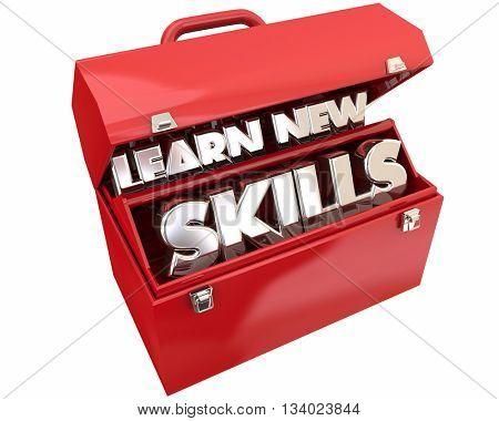 Learn New Skills Toolbox Education Training Words 3d Illustration