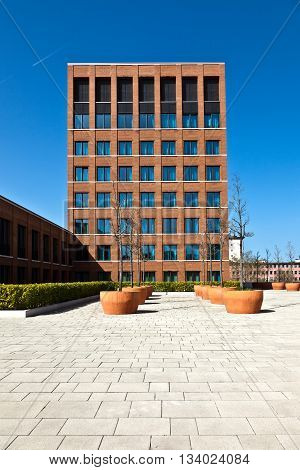 WIESBADEN, GERMANY - JUNE 4, 2011: generic modern building from outside without people