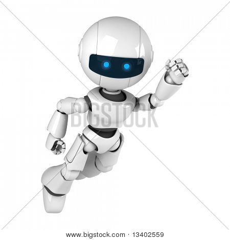 Funny white robot fly