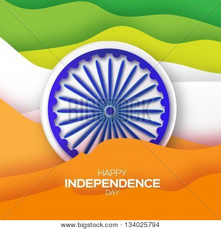 Indian Independence Day. Celebration background with Ashoka wheel. Republic Day. Origami Indian flag. Paper cut Flyer design concept for 15th August. Applique Vector Illustration