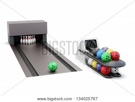 Bowling and ball return system isolated on a white background. 3d rendering.