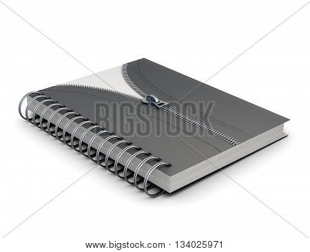 Notebook with hard cover and decorative zip isolated on white background. 3d rendering.