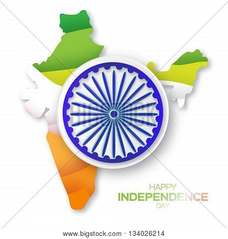 Indian Independence Day. Celebration background with Ashoka wheel. Republic Day. Origami Indian flag. India map silhouette. Paper cut Flyer design concept for 15th August. Applique Vector Illustration