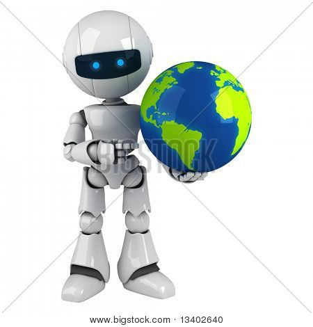 Lustige weiße Roboter bleiben mit Globus