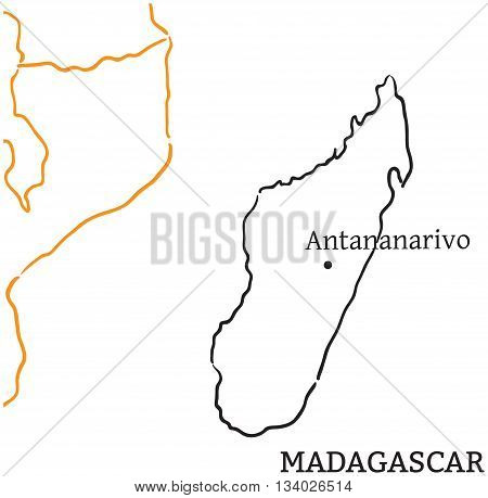 Madagascar Country Capital Vector Photo Bigstock - Madagascar map outline