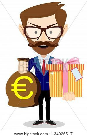 The young man gives a bag with Euro and gift, vector illustration