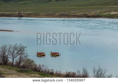 Rafting on Ili River Tamgaly Tas Kazakhstan