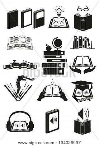 Set of books or novels with different theme. Editable Clip Art.