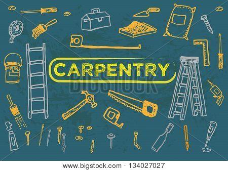 Carpentry Tools Set One Doodle artwork. Editable Clip Art.