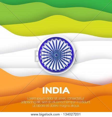 India tricolor flag with ashoka wheel. Origami paper cut vector illustration