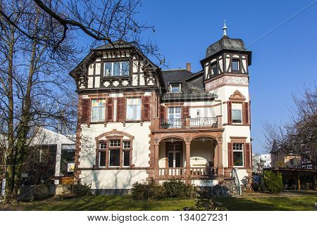 FRANKFURT, GERMANY - JAN 3, 2010: historic villa in Frankfurt under blue sky