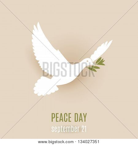 Peace day design with flying white dove with green branch in its beak