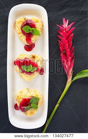 Cottage-cheese Baked Pudding in heart shape top view