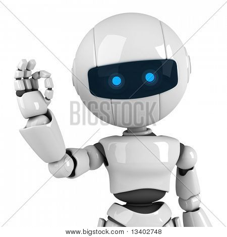 Estancia divertido robot blanco