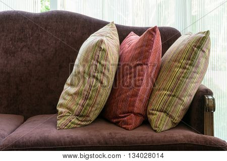 Red Pillows On Red Sofa In Luxury Living Room Interior