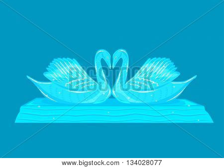 Sparkling Swan Couple Sculpture made of Ice, Glass or Crystal. Editable Clip art.