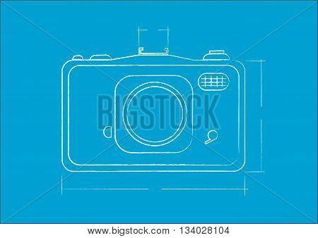 Camera  engineering specs in blue print plan. Editable Clip Art.