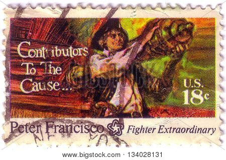 Usa - Circa 1970:a Stamp Printed In Usa Shows Image Of The Peter Francisco (c. 1760 - January 16, 18