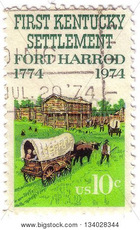 United States - Circa 1974: A Stamp Printed In The United States, Shows The Kentucky Settlement, For