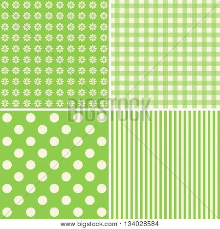 Set of 4 background patterns in green tones.
