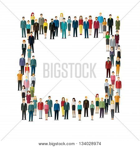 People standing in shape of rectangle. Flat design, vector illustration.