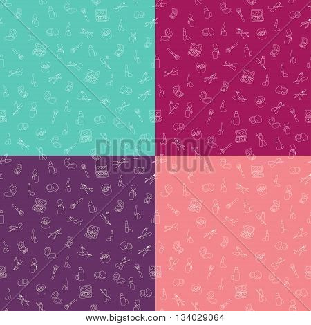 Set of seamless patterns with makeup cosmetics in different color background