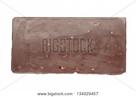whole homemade bar of chocolate with cashew nuts, isolated on white bcakgound