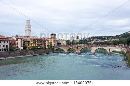 The Bridge Ponte Pietra Across The Adige River