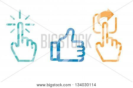 Click Like Share Icon In Blue Color ,hand Cursor And Like Thumb Up And Share Icon