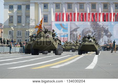SAINT PETERSBURG, RUSSIA - MAY 05, 2015: The column of military equipment goes to the Palace square. Rehearsal of parade in honor of Victory Day