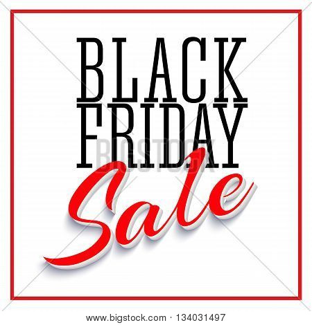Sale Poster with Frame and Shadow. Clearance black friday banner on white background. Sale and discounts template. Vector editable flyer, easy to change size
