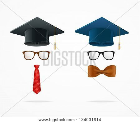 Professor Graduated Geek Sign Avatar Isolated on White Background. Vector illustration