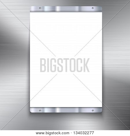 White plate with metal frame and bolts on the background of polished metal.. White banner and metal frame with reflexes. Technological background for your design