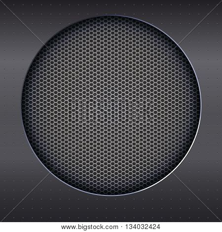 Background with sound speakers dynamics metal mesh. Background of polished metal with flare, patches of light. Audio speaker on a shiny metal background with bolts. Vector Illustration.
