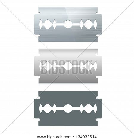 Metal Razor Blade Set and Silhouette Isolated on White Background. Vector illustration