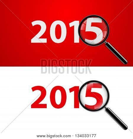 Numerals 2015 with magnifying glass in white and red.