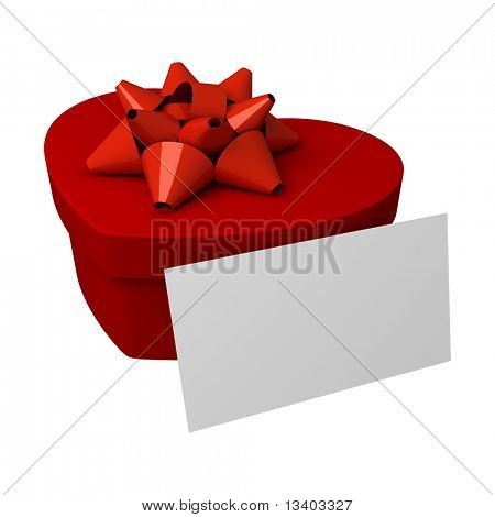 Red gift as heart with blank card
