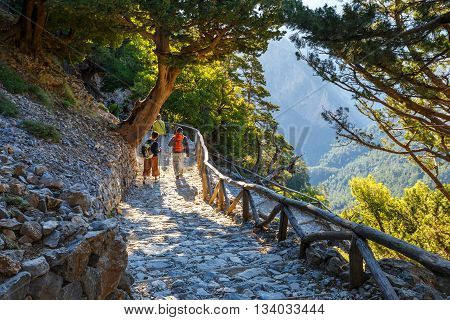 Samaria Gorge, Grece - May 26, 2016: Tourists Descend Down The Gorge Samaria In Central Crete, Greec