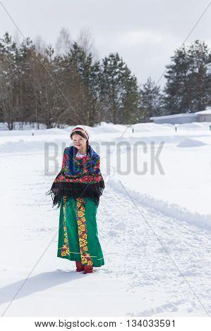 Portrait Of Russian Woman In A Winter Day.