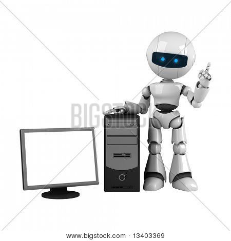 Funny white robot stay with computer