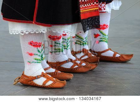 Bulgarian national shoes and socks for women