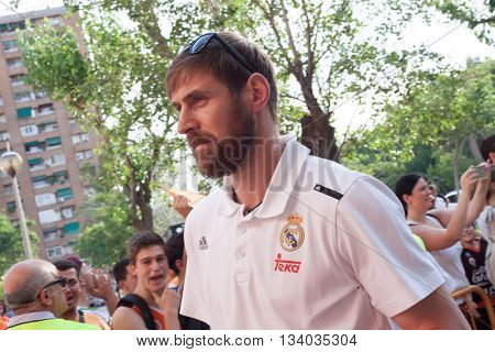 VALENCIA, SPAIN - JUNE 9th: Nocioni during 4th playoff match between Valencia Basket and Real Madrid at Fonteta Stadium on June 9, 2016 in Valencia, Spain