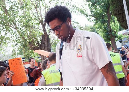 VALENCIA, SPAIN - JUNE 9th: Thompkins during 4th playoff match between Valencia Basket and Real Madrid at Fonteta Stadium on June 9, 2016 in Valencia, Spain