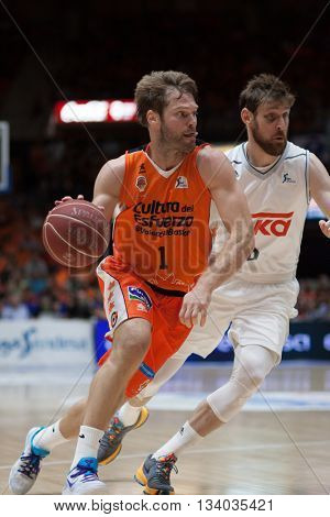 VALENCIA, SPAIN - JUNE 9th: Stefansson with ball and Nocioni during 4th playoff match between Valencia Basket and Real Madrid at Fonteta Stadium on June 9, 2016 in Valencia, Spain