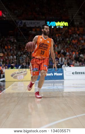 VALENCIA, SPAIN - JUNE 9th: San Emeterio during 4th playoff match between Valencia Basket and Real Madrid at Fonteta Stadium on June 9, 2016 in Valencia, Spain