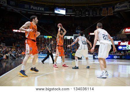 VALENCIA, SPAIN - JUNE 9th: San Emeterio with ball during 4th playoff match between Valencia Basket and Real Madrid at Fonteta Stadium on June 9, 2016 in Valencia, Spain