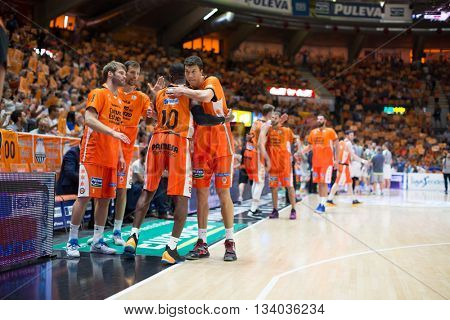 VALENCIA, SPAIN - JUNE 9th: Valencia players during 4th playoff match between Valencia Basket and Real Madrid at Fonteta Stadium on June 9, 2016 in Valencia, Spain