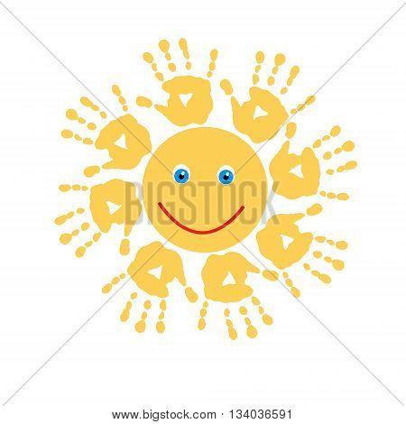 Joyful cute yellow sun of a handprints